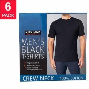 Kirkland Signature Men's Crew Neck Tee, 6-pack BLK